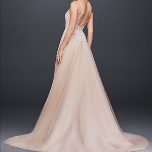 Sheer Beaded A-line Wedding Dress